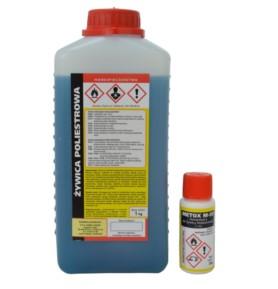 Żywica poliestrowa 1kg + utwardzacz Metox M-50 20g