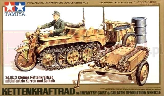 TAMIYA 32502 Pojazd półgąsienicowy Kettenkraftrad Sd.Kfz.2 + przyczepa (zestaw)