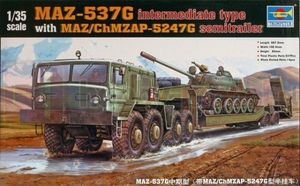 TRUMPETER 00211 Ciągnik MAZ-537G with MAZ-5247G