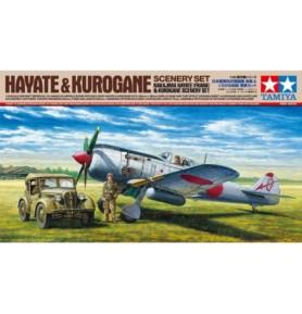 TAMIYA 61116 Myśliwiec Hayate & Kurogane Scenery set