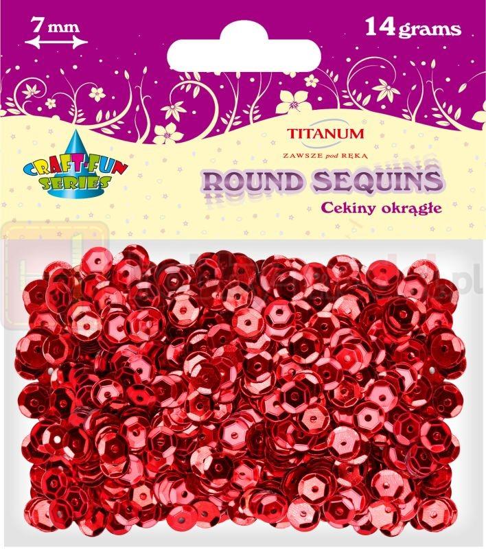 Cekiny okrągłe czerwone Titanum 14g x 7mm