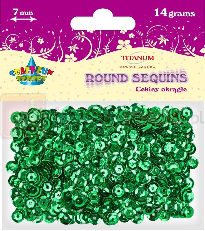 Cekiny okrągłe zielone Titanum 14g x 7mm