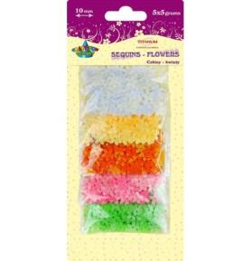 Cekiny kolorowe kwiaty Titanum 5 x 5g