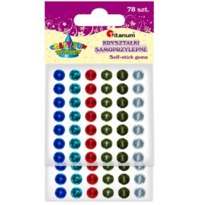 Kryształki samoprzylepne Titanum okrągłe 6 kolorów