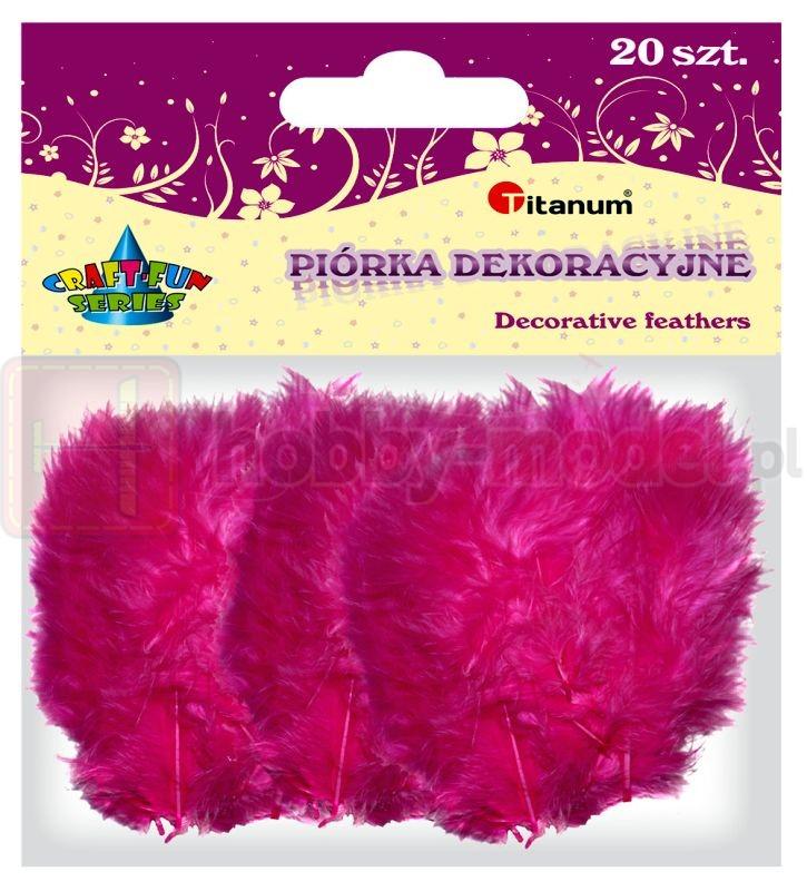 Piórka dekoracyjne 20 sztuk Titanum różowe