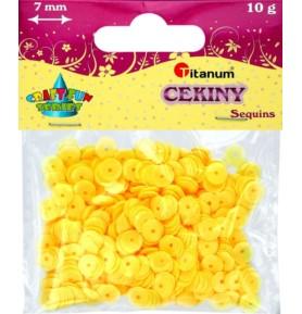 Cekiny okrągłe jasno żółte pastelowe Titanum 10g x 7mm