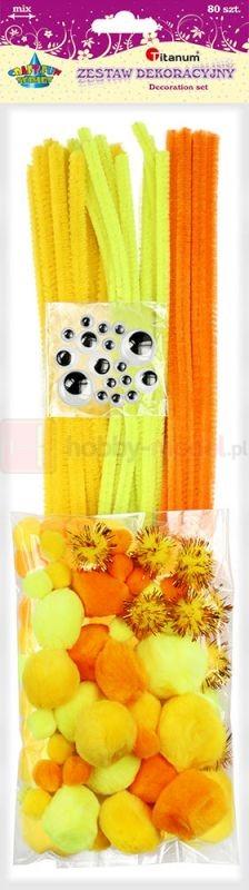 Zestaw dekoracyjny Titanum 80 sztuk żółty