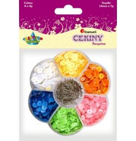 Cekiny kolorowe okrągłe Titanum 6 x 4g + szpilki
