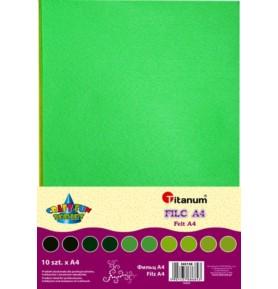 Filc dekoracyjny Titanum A4/2mm 10 sztuk zielone