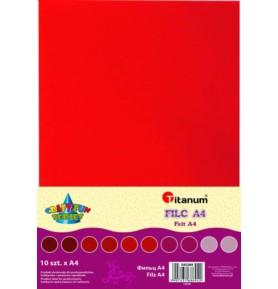 Filc dekoracyjny Titanum A4/2mm 10 sztuk czerwony