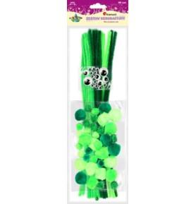 Zestaw dekoracyjny Titanum 80 sztuk zielony