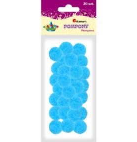 Pompony dekoracyjne Titanum 25mm niebieskie