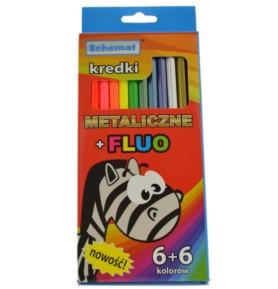 Kredki ołówkowe metaliczne + fluo Schemat 12 kolorów