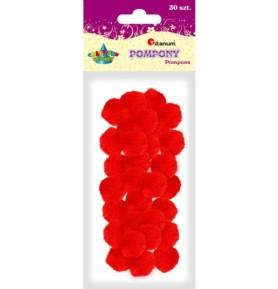Pompony dekoracyjne Titanum 25mm czerwone
