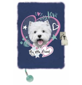 Pamiętnik z kłódką włochacz 3D Pies