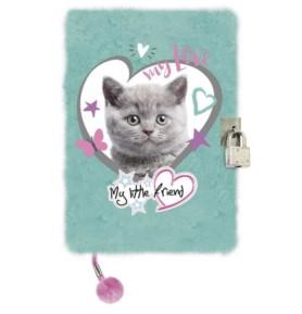 Pamiętnik z kłódką włochacz 3D Kot miętowy